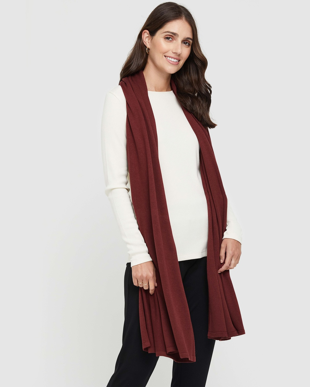 Bamboo Body Cashmere Wool Travel Wrap Wraps & Blankets Burnt Brick