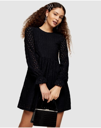 TOPSHOP - Broderie Long Sleeve Baby Doll Dress