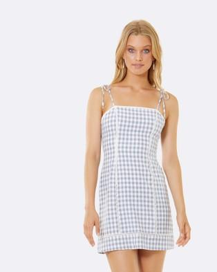 Calli – Vicky Tie Up Mini Dress Blue