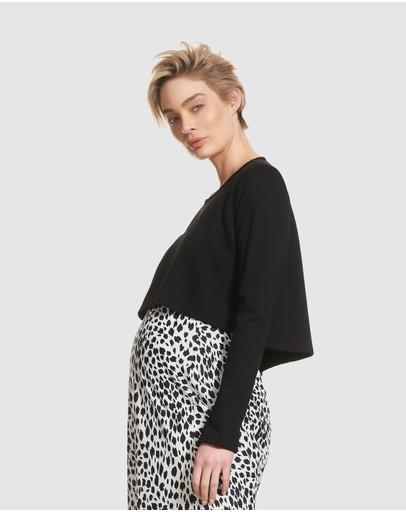 Soon Maternity Daria Crop Knit Top Black Twill