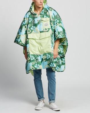 Poler Reversible Poncho - Sleeping Bags & Napsacks (Coral Reef Green)