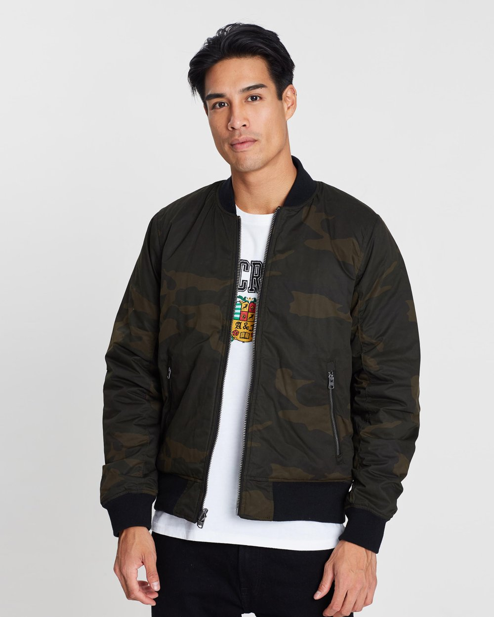 185629be2d85ae Reversible Bomber Jacket by Abercrombie & Fitch Online | THE ICONIC |  Australia