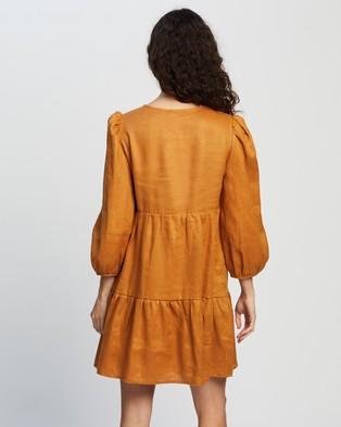 AERE Linen Smock Dress - Dresses (Saffron)