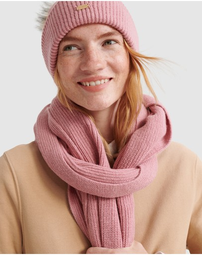 Superdry Heritage Ribbed Scarf Rose Marle