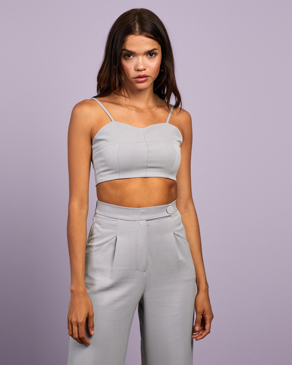 4th & Reckless Vivian Top Cropped tops Chambray
