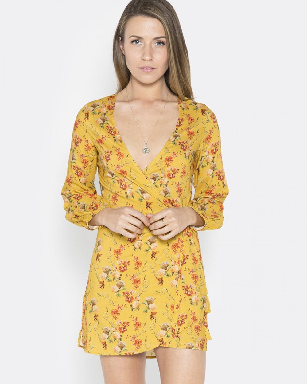 LALUNA Yellow Hydrangea Mini Dress