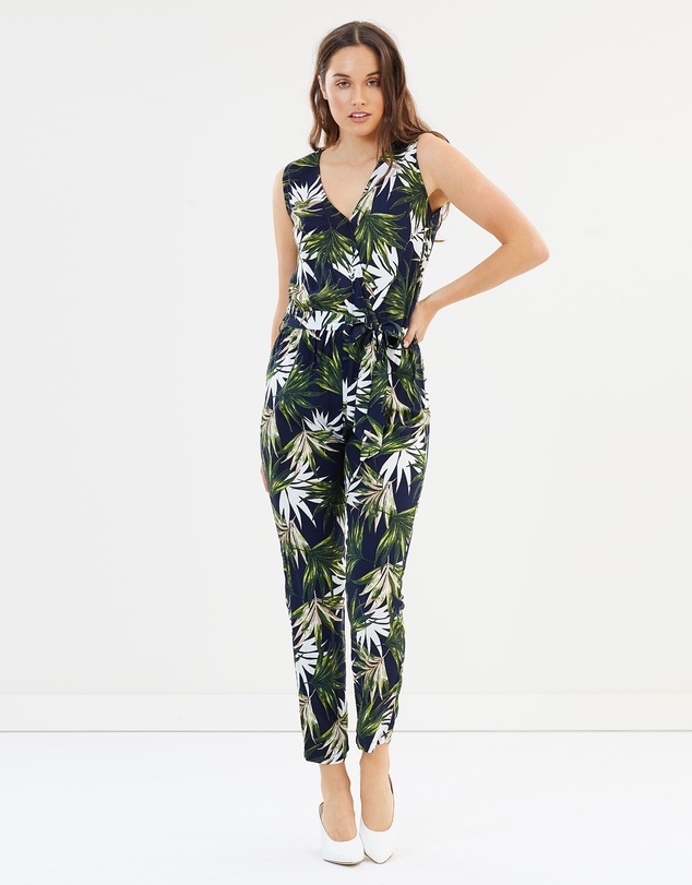 39d67d484f1 Palm Print Gathered Jumpsuit by Dorothy Perkins Online