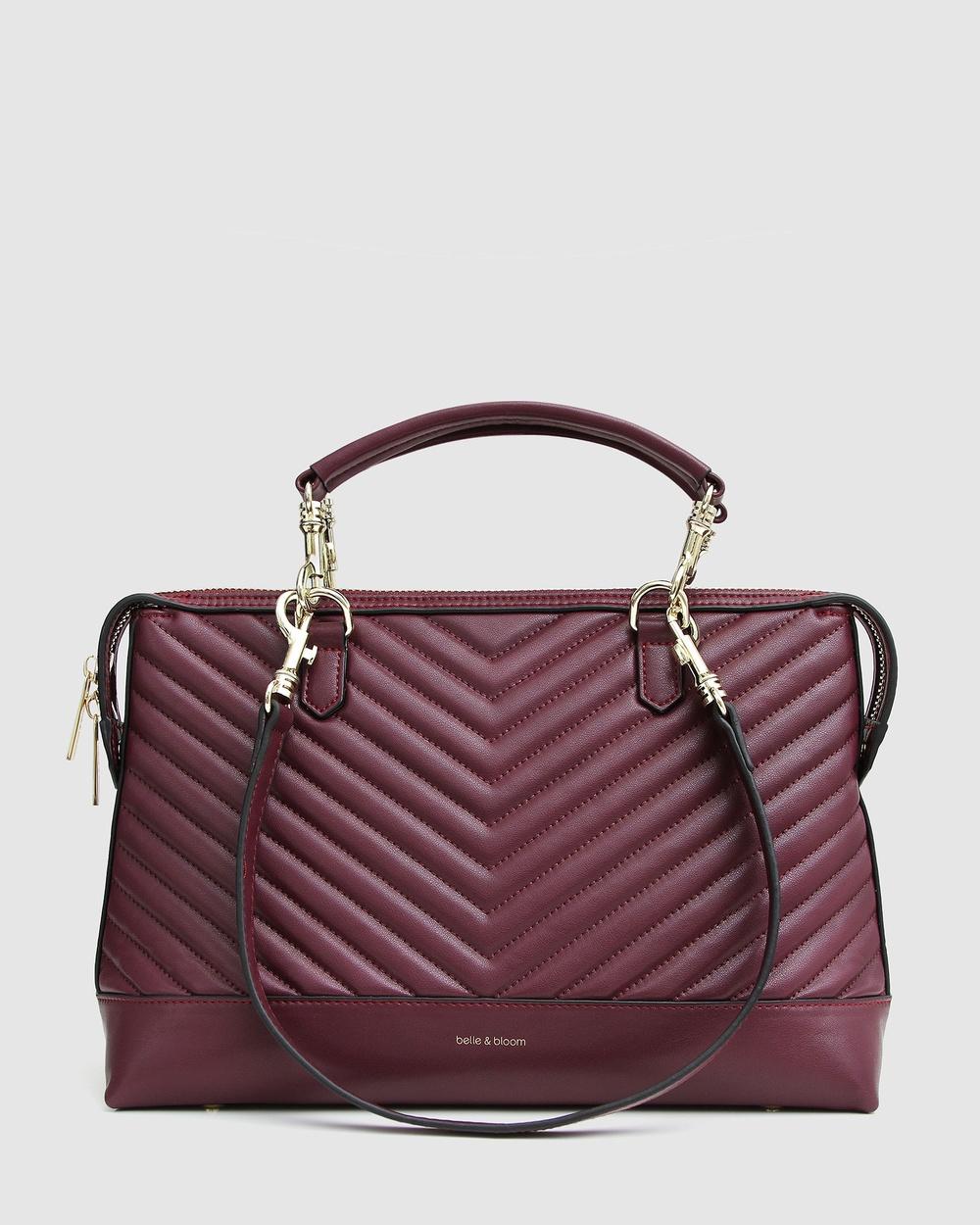 Belle & Bloom Watch Me Go Quilted Shoulder Bag Satchels Red