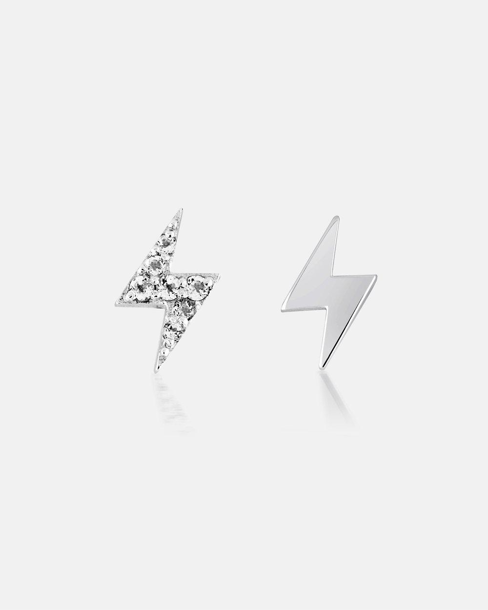 Lumiere Lightning Bolt Diamond Pave Silver Ear Studs By Au Revoir