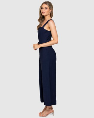 Forever New Aurora Wide Leg Belted Jumpsuit - Jumpsuits & Playsuits (Navy Sails)