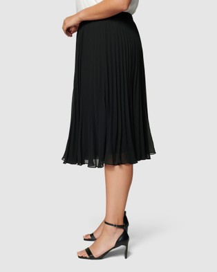 Forever New Leslie Curve Pleated Midi Skirt - Skirts (Black)