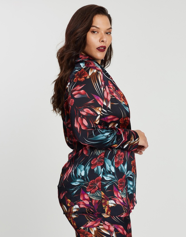 Missguided Curve - Floral Wrap Over Jacket