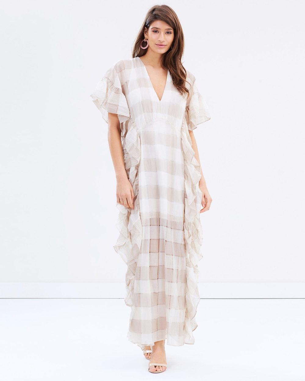 Stevie May Grande Maxi Dress Dresses Ecru Checks Grande Maxi Dress