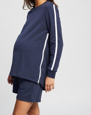 Angel Maternity Maternity And Nursing Tracksuit Set - Shorts (Navy)