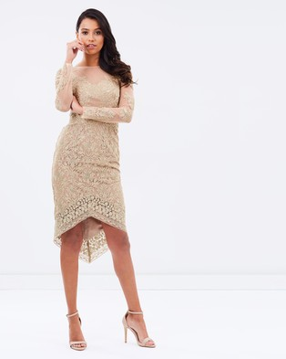 Grace & Hart – Gold Rush Fitted Midi Dress Gold
