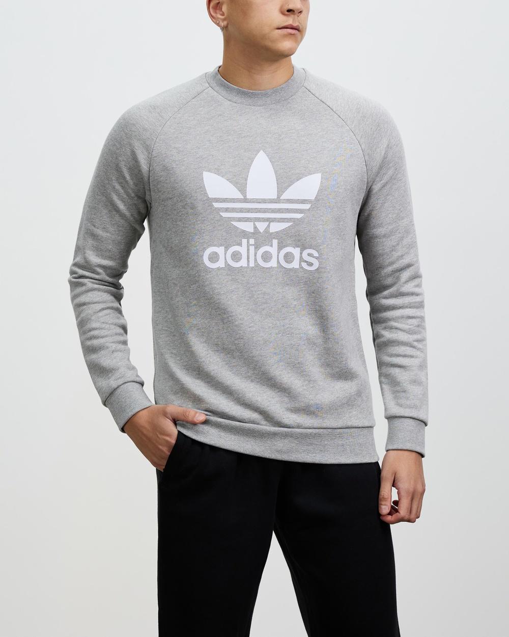 adidas Originals Adicolour Trefoil Crew Sweatshirt Necks Grey Heather & White