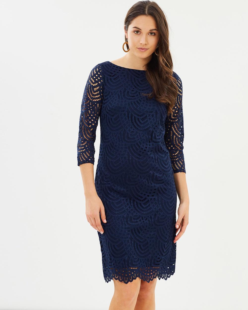 Wallis Lace Sleeved Shift Dress Dresses Navy Blue Lace Sleeved Shift Dress