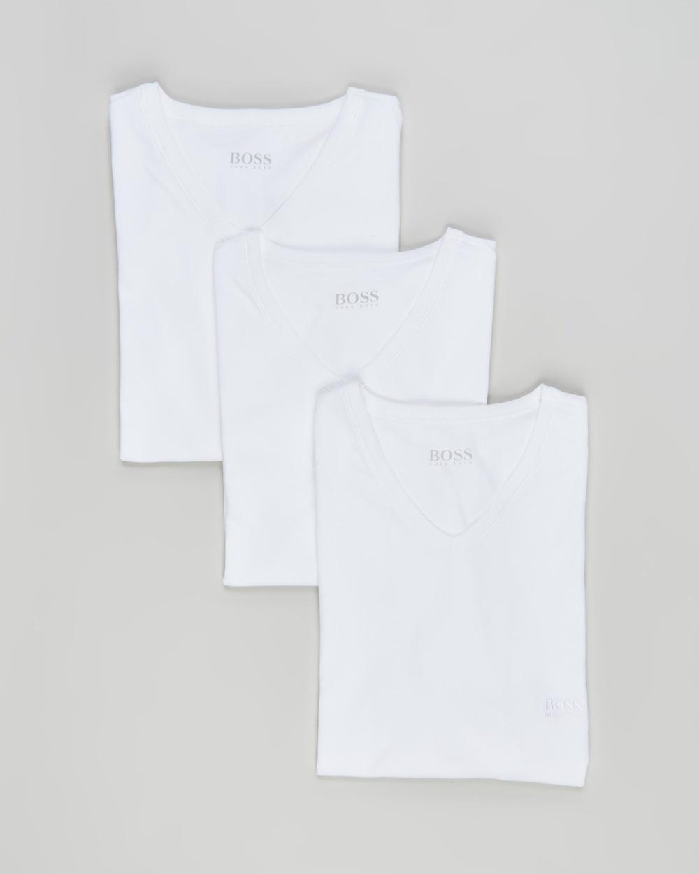 BOSS V Neck T Shirts 3 Pack T-Shirts & Singlets White V-Neck 3-Pack