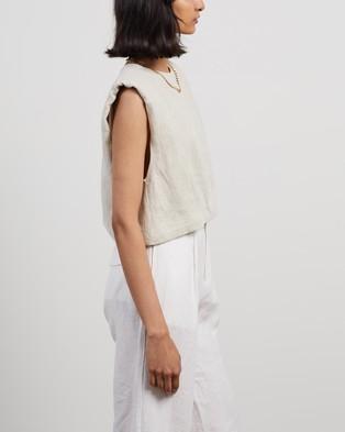 AERE - Linen Shoulder Pad Tee Tops (Neutral)