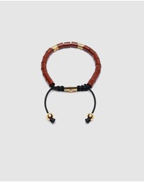 Nialaya Jewellery - Men's Beaded Bracelet with Jasper and Hand Carved Tube Beads