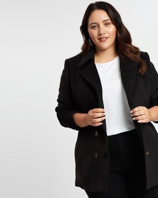 Atmos&Here Curvy Sarah Double Breasted Coat - Coats & Jackets (Black)
