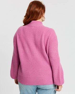 Mika Muse Front Runner Balloon Sleeve Knit - Jumpers & Cardigans (Pink)