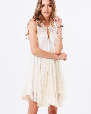 Free People – Don't You Dare Lurex Shapeless Mini Dress – Dresses (Neutral Combo)