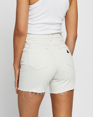 Abrand A Claudia Cut Offs Denim White Sand