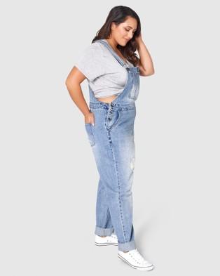 Indigo Tonic Dana Distressed Overalls - Jumpsuits & Playsuits (BLUE)
