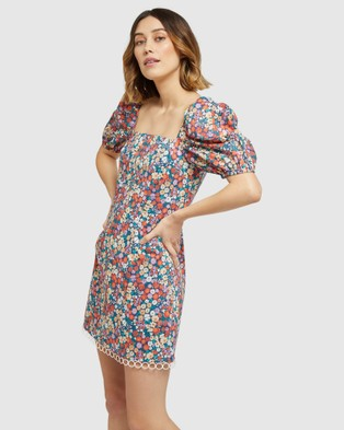 Oxford Margela Ditsy Floral Dress - Printed Dresses (Red)