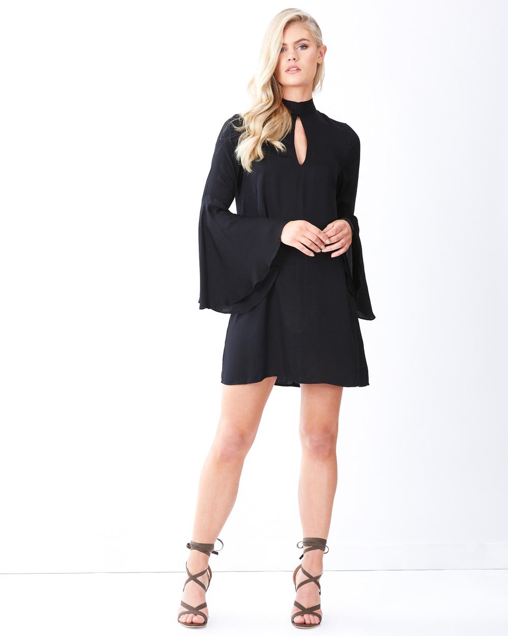 Tussah Garland Bell Sleeve Dress Dresses Black Garland Bell Sleeve Dress