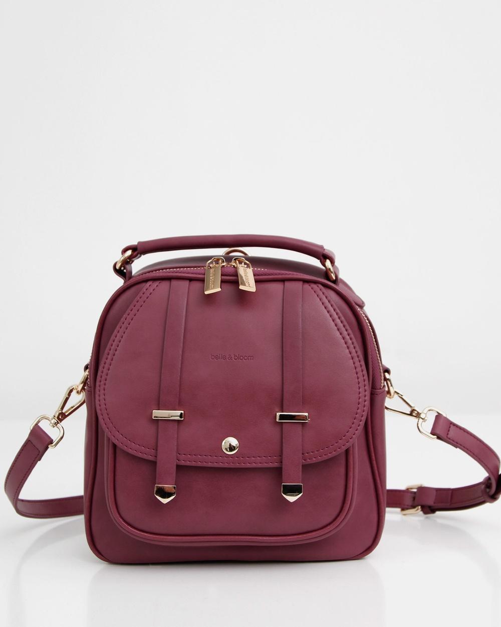Belle & Bloom Camila Leather Backpack Backpacks Purple Plum
