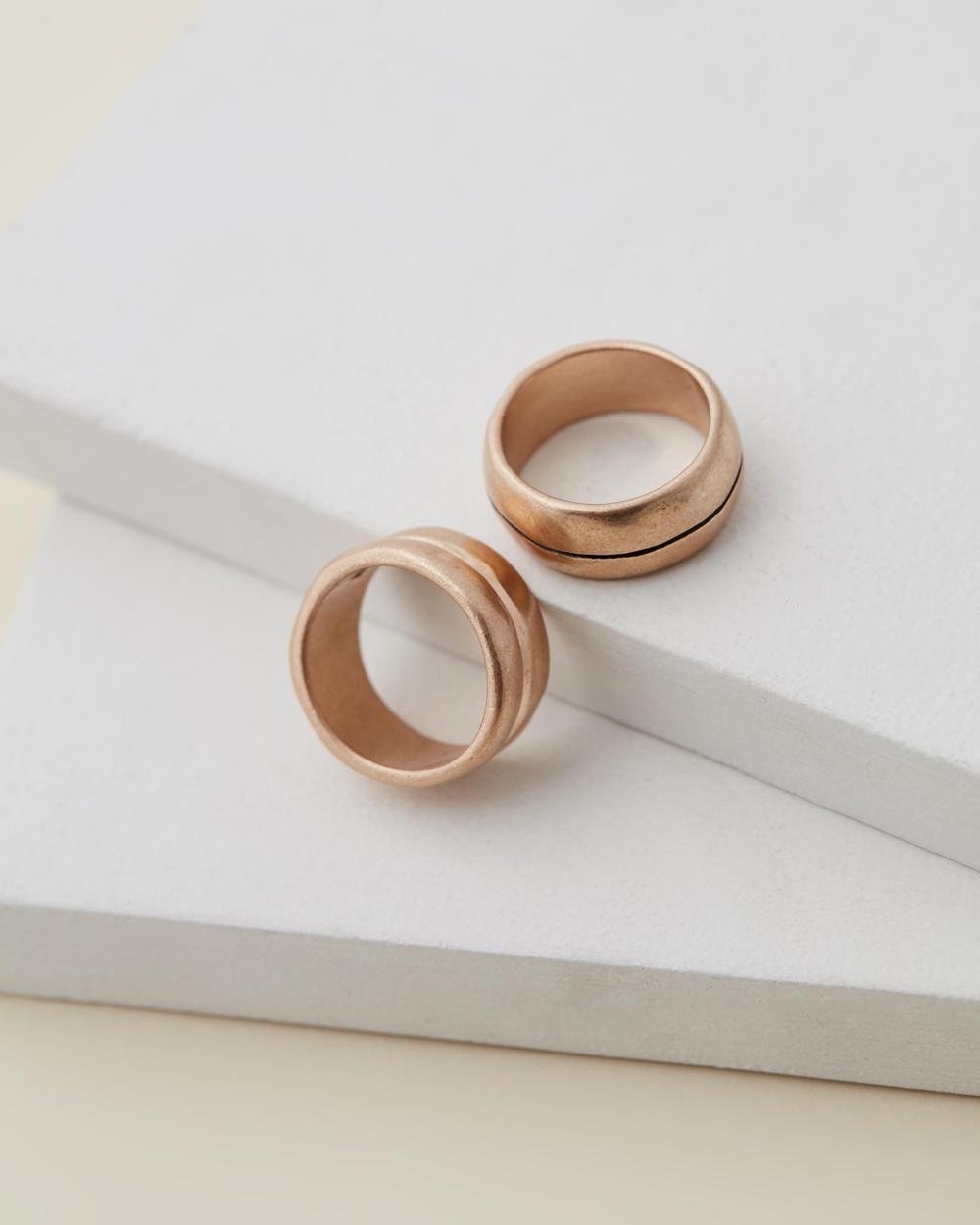 Icon Brand Desert Comrade Arrow Ring Set Jewellery Gold