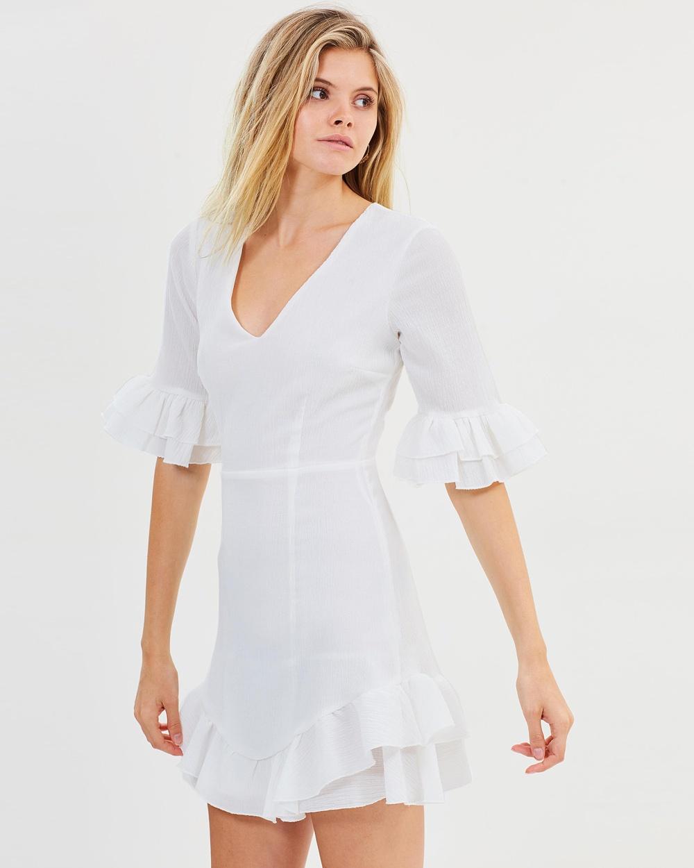 Atmos & Here ICONIC EXCLUSIVE Sara Frill Mini Dress Dresses White ICONIC EXCLUSIVE Sara Frill Mini Dress
