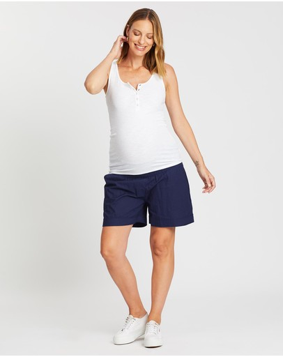 Angel Maternity Light Weight Summer Shorts Navy