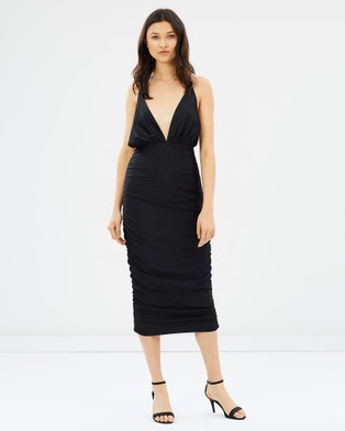 Glamorous – Plunge Front Midi Dress Black