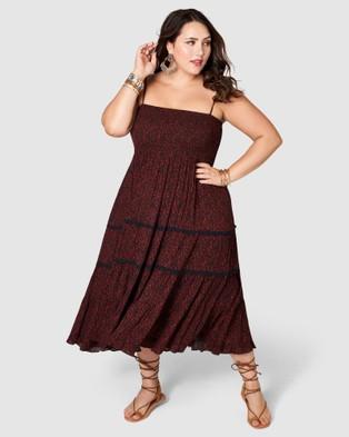 The Poetic Gypsy Festival Shirred Print Dress - Printed Dresses (Black)