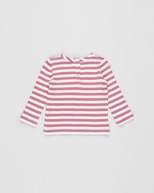 Cotton On Baby - Lenny Long Sleeve Top Babies Tops (Hannah Stripe Mauve Plum & Vanilla)