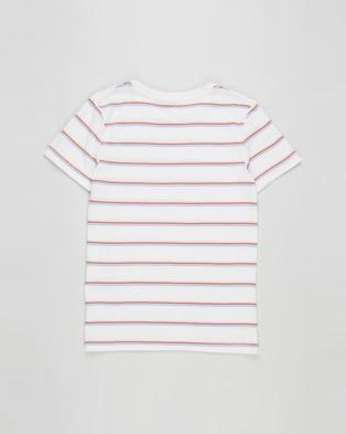 Cotton On Kids - 2 Pack Core SS Tee   Kids - T-Shirts & Singlets (Zephyr White Stripe & Vanilla Rainbow Stripe) 2-Pack Core SS Tee - Kids