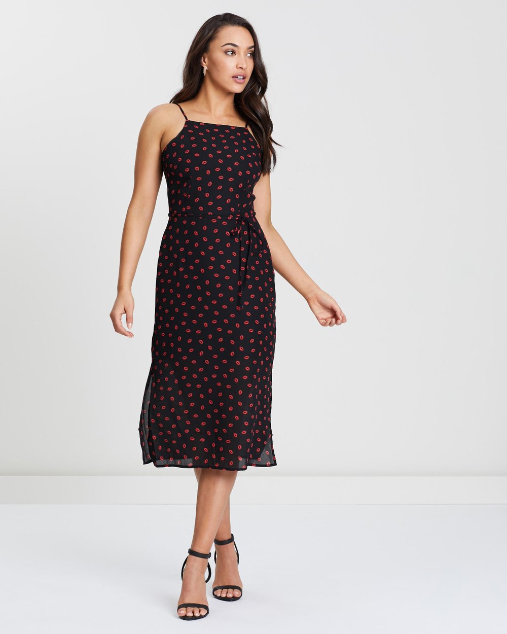 227663c41e0d Lip Print Square Neck Midi Dress by Oasis Online | THE ICONIC | Australia