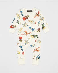 Rock Your Baby - ICONIC EXCLUSIVE - Retro Toys LS Playsuit - Babies