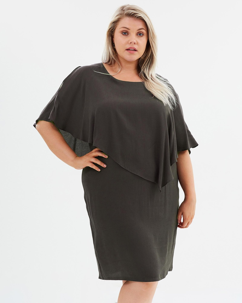 Advocado Plus Asymmetric Flounce Dress Dresses Slate Asymmetric Flounce Dress