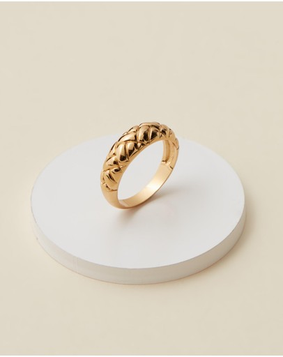 Orelia London Domed Waffle Ring Pale Gold