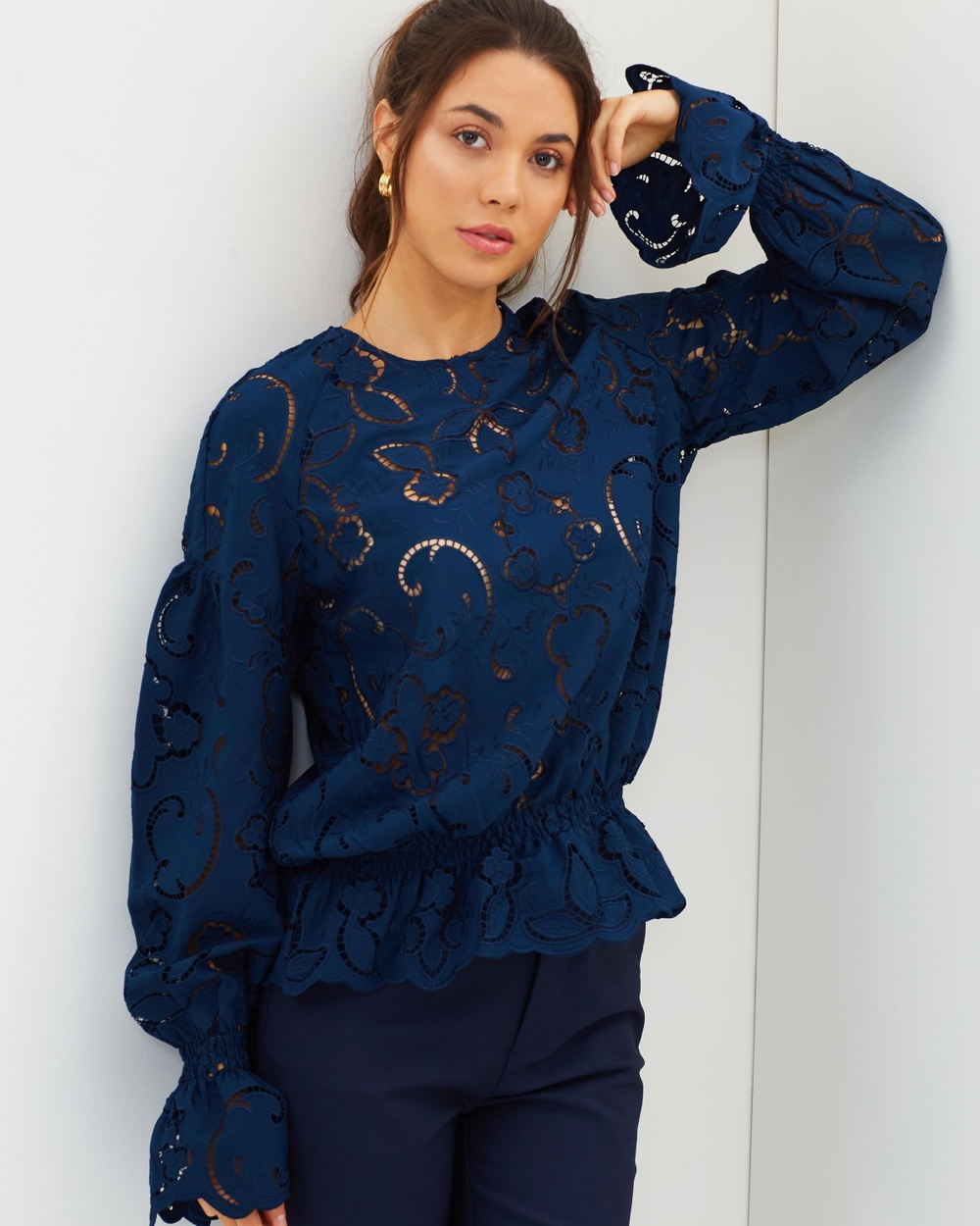 Perseverance Lily Cut Out Embroidered Crepe Blouse Tops Navy Lily Cut-Out Embroidered Crepe Blouse