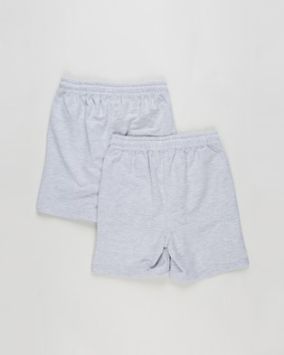 Cotton On Kids 2 Pack Henry Slouch Shorts   Kids - Shorts (Grey Marle)