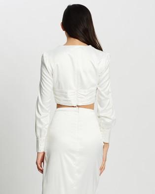 KIANNA Amanda Silky Blouse - Cropped tops (Ivory)