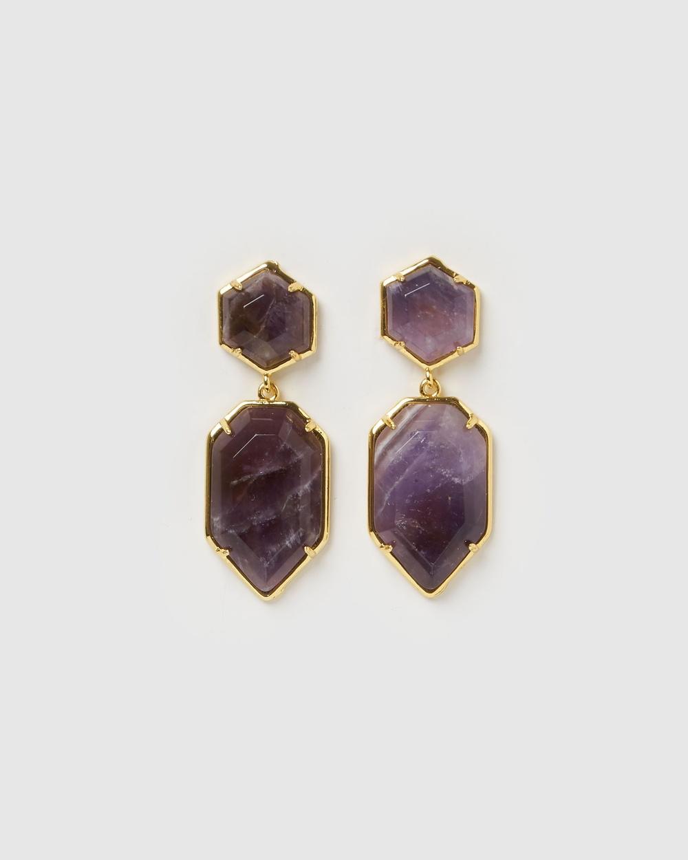 Miz Casa and Co Clementine Earrings Jewellery Amethyst Gold