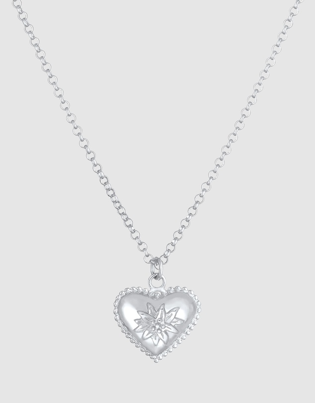 Women Necklace Heart Oktoberfest Edelweiss Look in 925 Sterling Silver