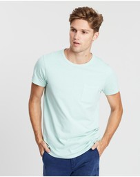 Scotch & Soda - Ams Blauw Garment Dyed Regular Fit One-Pocket Tee