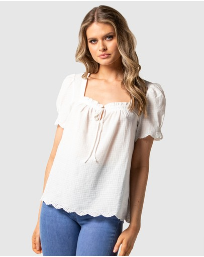 Forever New - Penelope Square Neck Embroidered Blouse